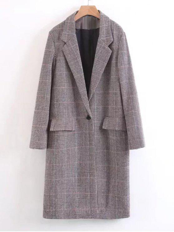 fancy One Buttoned Long Sleeve Checked Coat - GRAY M