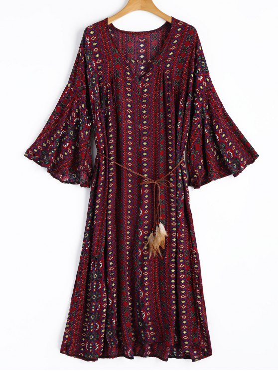 sale Printed Slit Oversized Dress - DARK RED ONE SIZE