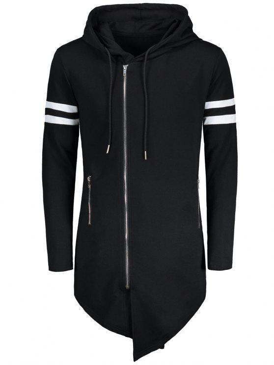 shop Varsity Stripe Zip Up Long Asymmetrical Hoodie - BLACK M