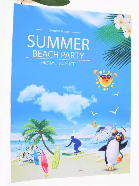 shops Cartoon Landscape Print Beach Throw - COLORMIX ONE SIZE