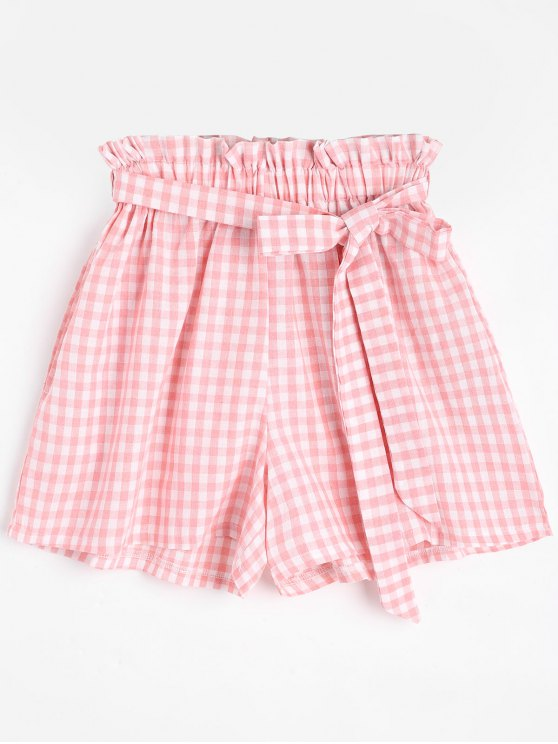 outfits Smocked Belted Plaid Shorts - PINK ONE SIZE