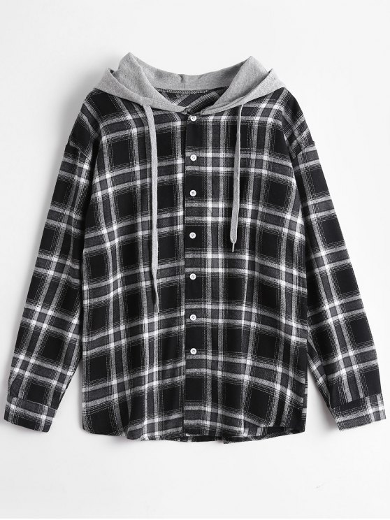 shops Button Up Checked Drawstring Hoodie - CHECKED ONE SIZE