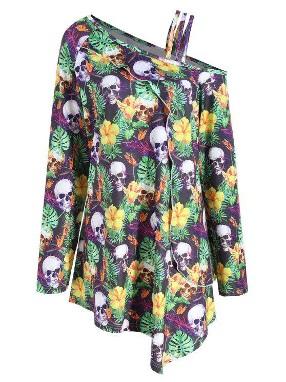 chic plus size halloween skull skew neck t shirt colormix 5xl