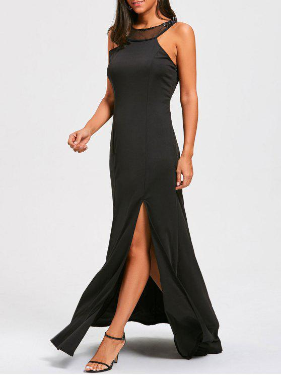 outfit Party Evening Sequins Embellished Dress - BLACK XL
