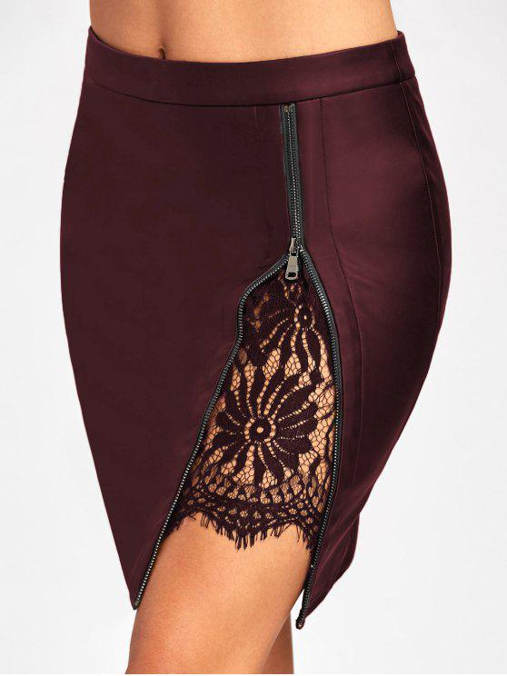 new Lace Insert Fitted Faux Leather Skirt - CLARET M