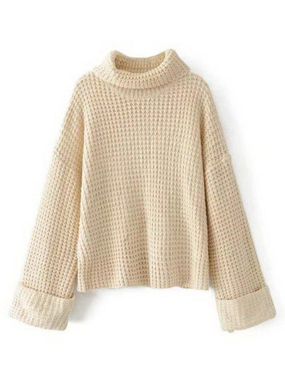 Curled Sleeve Oversized Turtleneck Sweater WHITE: Sweaters ONE ...