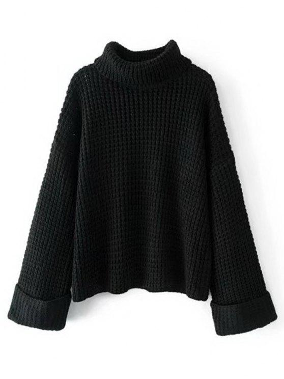 online Curled Sleeve Oversized Turtleneck Sweater , BLACK ONE SIZE