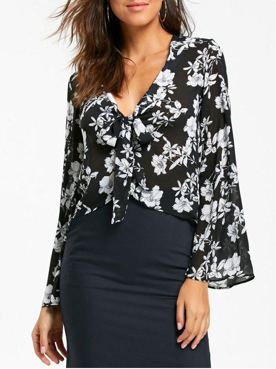 ladies Plunging Neckline Floral Print Bell Sleeve Blouse - BLACK XL