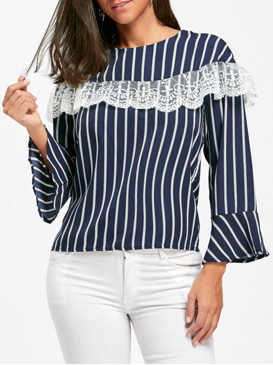 shops Lace Insert Striped Bell Sleeve Blouse - BLUE XL