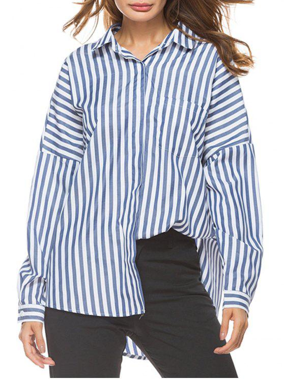 best Oversized Drop Shoulder Striped High Low Shirt - BLUE STRIP PATTERN L