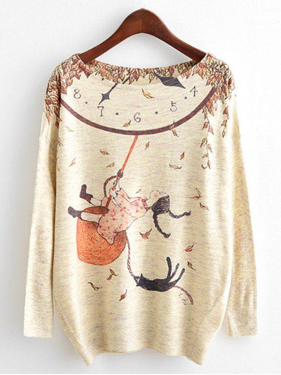 outfits Dolman Sleeve Cartoon Print Knitwear - BEIGE ONE SIZE