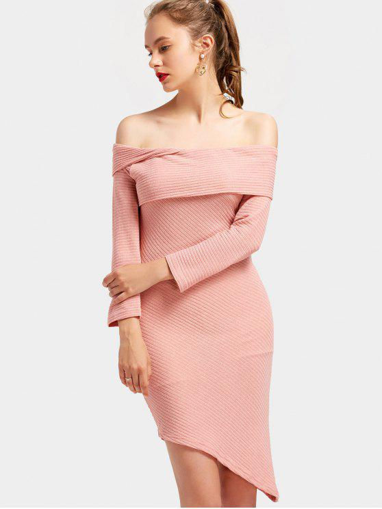 26% OFF  2019 Off The Shoulder Asymmetric Knitted Dress In PINK S ... 8acd5d4afbb8