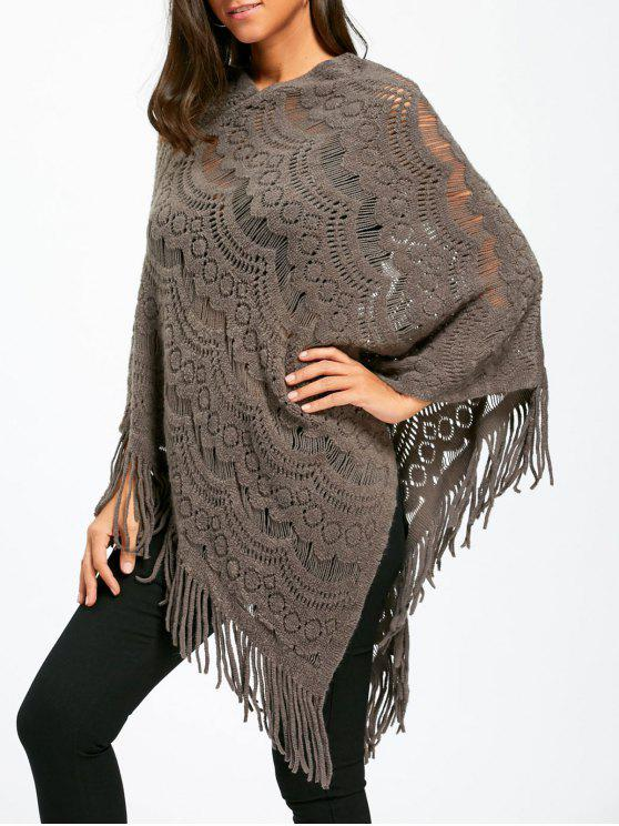 womens Asymmetric Fringed Chunky Cape Sweater - GRAY ONE SIZE