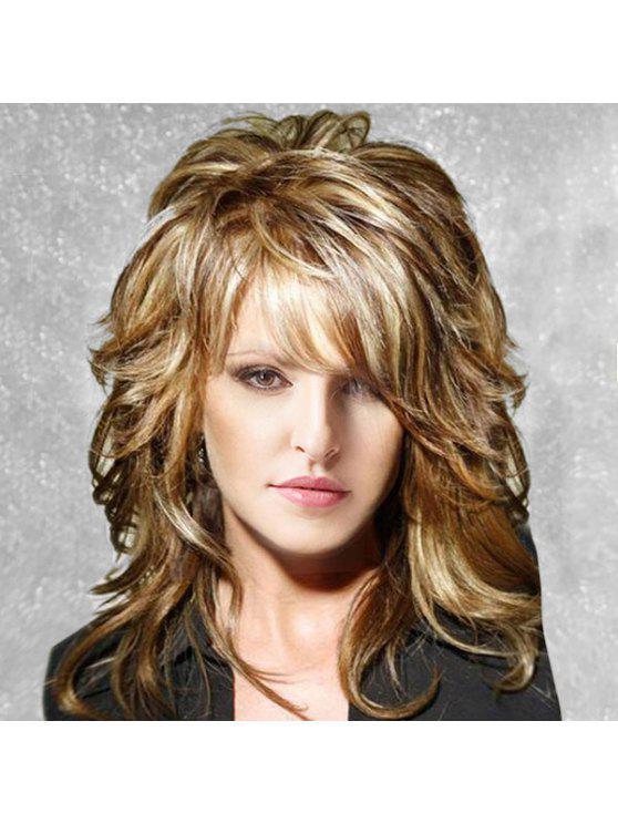 متوسطة الجانب بانغ منفوش الطبقات مجعد قليلا شعر مستعار الإنسان - Colormix