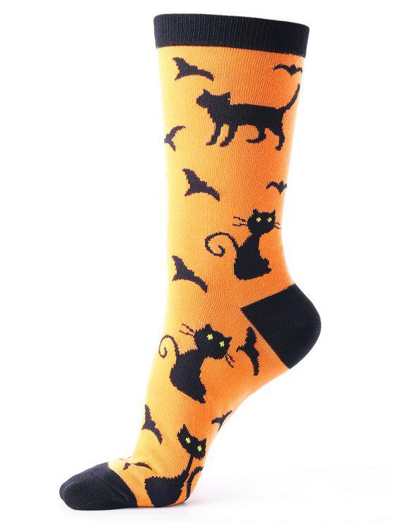 هالوين القطط الخفافيش نمط العجل الجوارب - البرتقالي