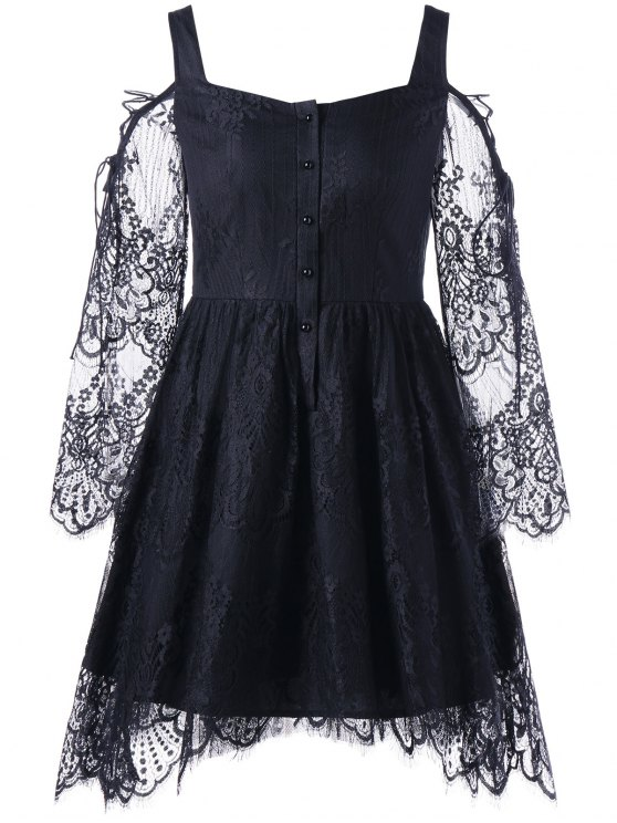 هالوين الباردة الكتف رمش الدانتيل اللباس - أسود M