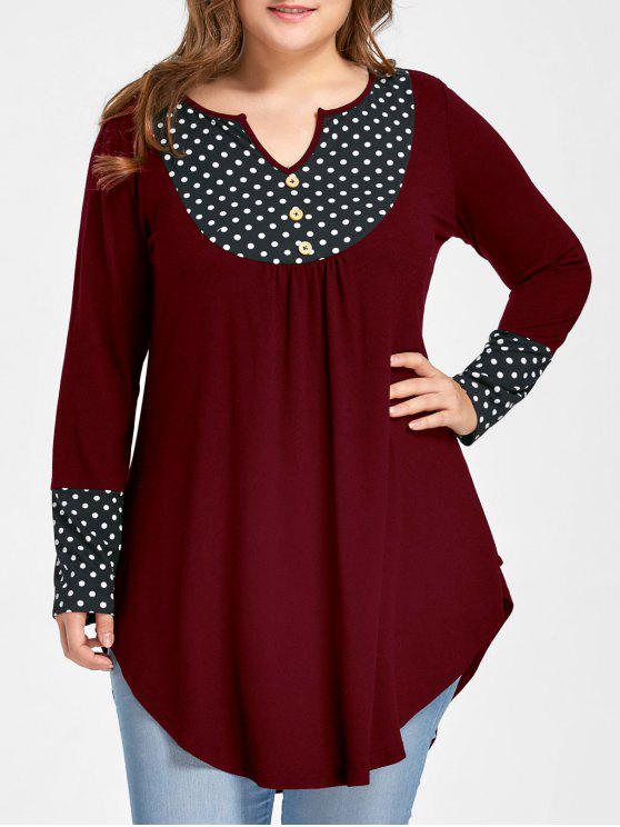 hot Plus Size Polka Dot Curved Tunic Top - WINE RED 3XL