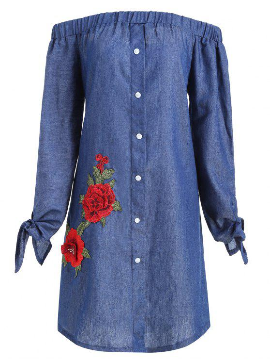 Plus Size Floral Applique Chambray Vestido de hombro - Denim Blue 3XL