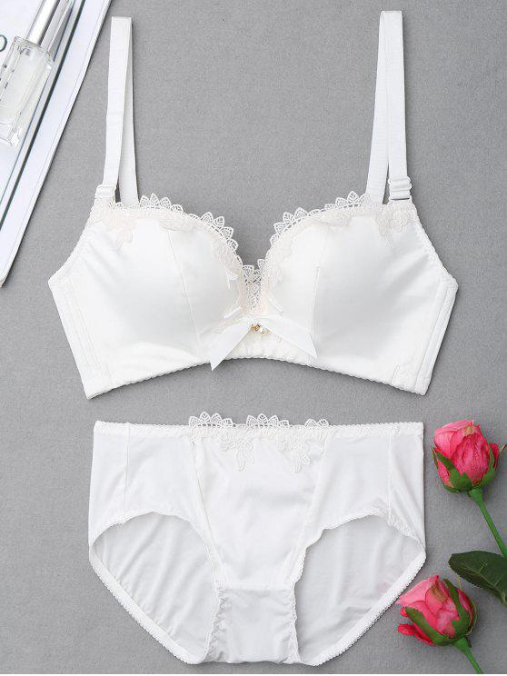 fancy Push Up Plunge Bra Set - WHITE 75B