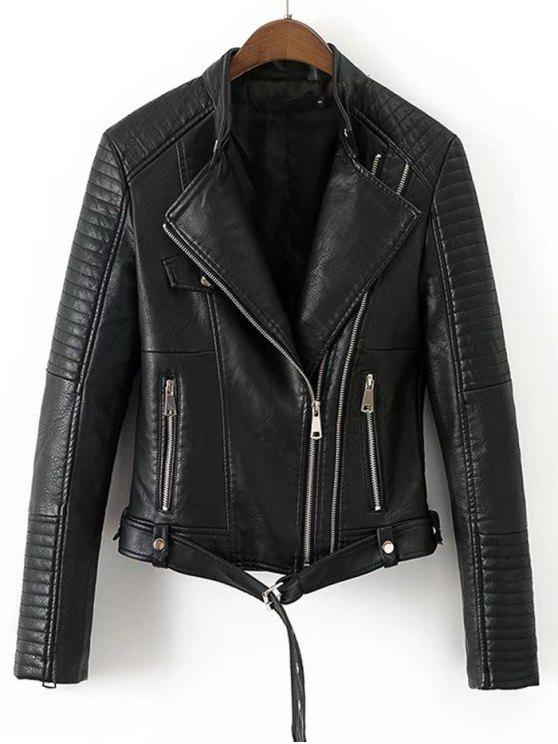 unique Faux Leather Belted Biker Jacket - BLACK L
