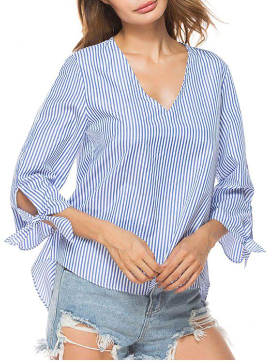 outfit V Neck Striped High Low Shirt - STRIPE L