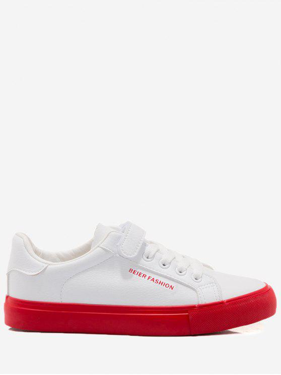 shop Letter Contrasting Color Skate Shoes - RED WITH WHITE 36