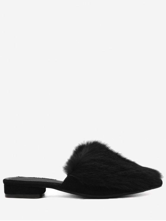 chic Low Heel Faux Fur Pointed Toe Slippers - BLACK 38
