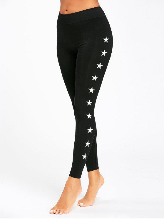النجوم النشطة المطبوعة طماق ضئيلة - أسود L