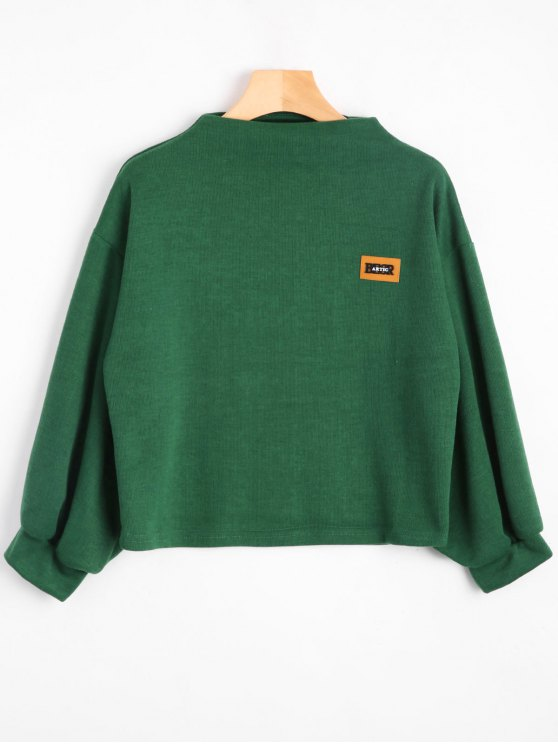 unique Badge Patched Lantern Sleeve Sweatshirt - GREEN ONE SIZE