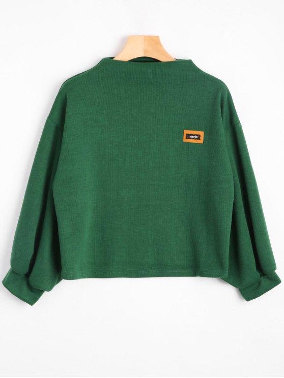 Sweat-shirt à Badge Patché Manches Lanternes - Vert Taille Unique