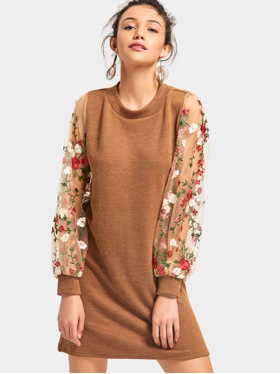 Mini Robe Tricotée Florale à Panneau en Tulle - Brun M