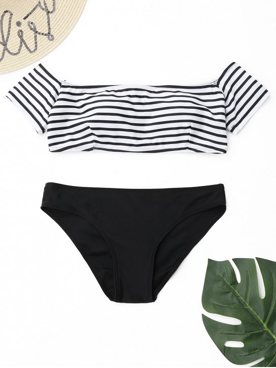 latest Off The Shoulder Stripe Bikini Set - WHITE AND BLACK L