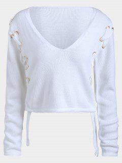 Short Lace Up V Neck Sweater - White M