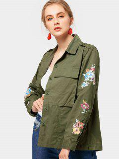 Floral Patched Letter Jacket With Pockets - Army Green