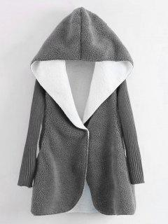 Hooded Knitted Sleeve Wool Lamb Coat - Gray