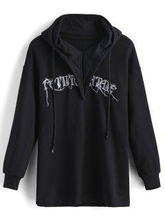 Loose Long Sleeve Embroidered Hoodie - Black S
