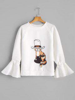 Flare Sleeve Cartoon Cat Sweatshirt - White L