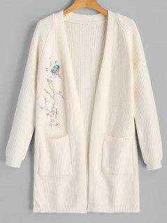 Open Front Floral Bird Embroidered Cardigan - White