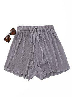 Pleated Cover-Up Shorts - Gray