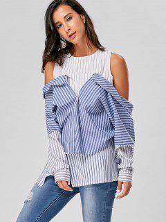 Striped Longline Cold Shoulder Blouse - Blue Stripe L