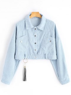 Ribbed Cropped Corduroy Jacket - Light Blue