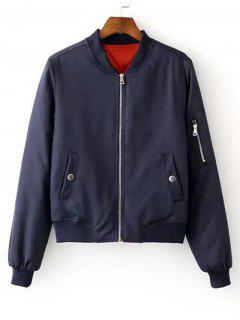 Zip Up Zippers Sleeve Bomber Jacket - Purplish Blue S