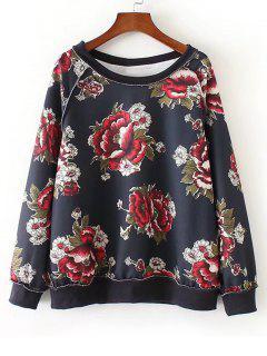 Sweat-shirt Oversize Floral Manches Raglan - Floral L