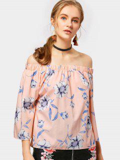 Off The Shoulder Back Slit Floral Blouse - Orangepink M