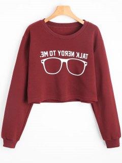 Drop Shoulder Sunglasses Letter Sweatshirt - Deep Red S