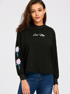 Love Me Floral Tunic Sweatshirt - Black S