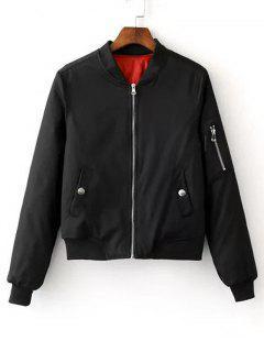 Zip Up Zippers Sleeve Bomber Jacket - Black S