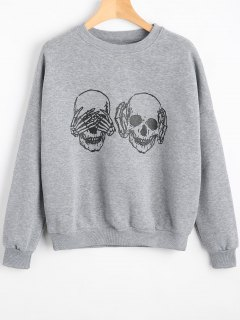 Skull Graphic Drop Shoulder Sweatshirt - Gray L