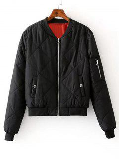 Zip Up Padded Bomber Jacket - Black S