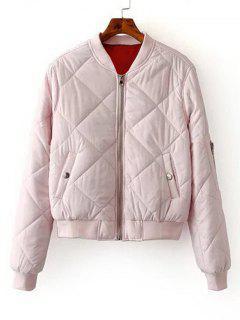 Zip Up Gepolsterte Bomberjacke - Pink S